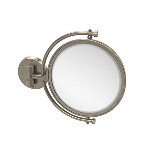 Allied Brass WM-4/3X-PEW 8 Inch Wall Mounted Make-Up Mirror 3X Magnification, Antique Pewter