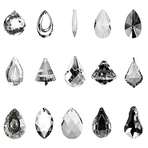 (SunAngel Clear Jewelry Crystals Pendants &Chandelier Lamp Lighting Drops Prisms Hanging Glass Prisms Parts Suncatchers Prisms Hanging Ornaments for Home,Office,Garden Decoration(15 Packs))