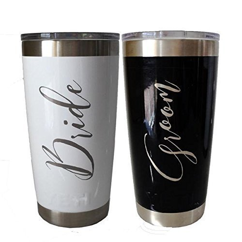 Colored Tumbler Set Engraved for Bride and Groom by Kapp studio