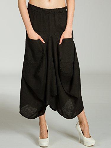 jupe poches Jupe RO018 Maxi le Noir sur devant d't avec Jupe femme longue lgre pour CASPAR lin en qP5OO