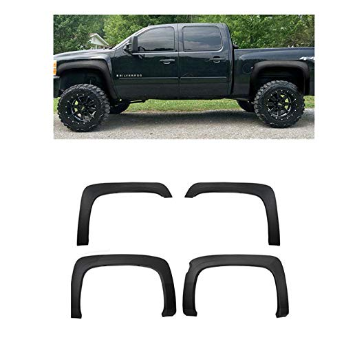 X-Parts Lab 4pcs OE Style Fender Flares for 07-13 Chevy Silverado 1500 Texture Matt Black 5'8″ Short Bed Protector Trim Pickup Truck Hardware Kit Included (5'8″ Short Bed)