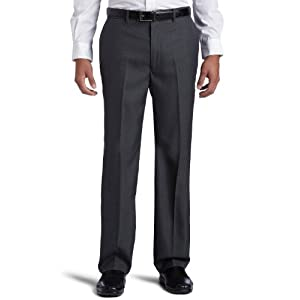 Perry Ellis Men's Portfolio Classic Fit Flat Front Folio Flex Waistband Sharkskin Pant,Charcoal,32x29