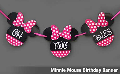 Minnie Mouse Birthday Banner - ONE Birthday Banner - OH TWO DLES! Minnie mouse party supplies - Minnie Mouse Theme Birthday Party Supplies - Minnie Mouse Party Decoration (Oh two dles banner)