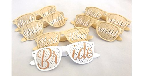 Bridal Shower Bachelorette Party Wedding Sunglasses Elegant CHAMPAGNE color SET of (Bachelorette Glasses)