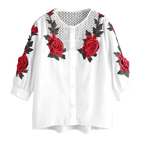 Donna Top Primaverile Estivi Ricamo Fiori Manica 3/4 Rotondo Collo Button Shirts Eleganti Chic Relaxed Leggero Moda Giovane Bluse Ragazze Tempo Libero Ragazza Bianca