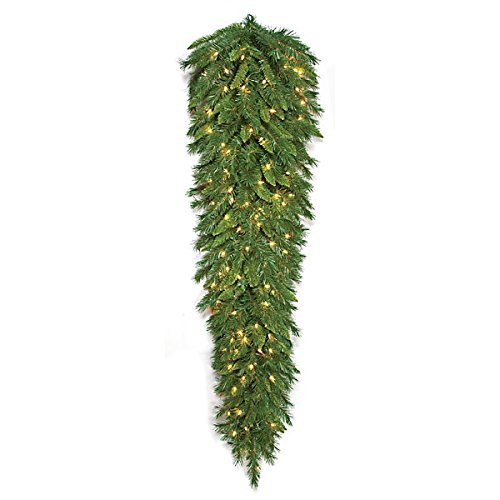 SilksAreForever 72'' Artificial Mixed Pine LED-Lighted Teardrop Swag -Green by SilksAreForever