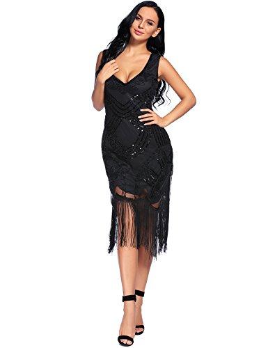 Flapper Girl Women's 1920s Gatsby Art Deco Beads Fringed Cocktail Flapper Dress (M, Black)