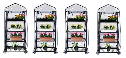 Gardman R687 4-Tier Mini Greenhouse, 27 Long x 18 Wide x 63 High (Pack of 4) ()