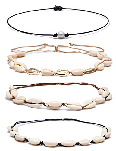 - BOMAIL 4 PCS Bohemian Natural Shell Choker Handmade Rope Pearl Hawaii Beach Necklace Jewelry for Women Girls