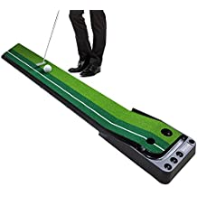 WINCAN Golf Putting Mat Green Indoor Outdoor Auto Ball Return Professional Portable Putting Trainer Set Mini Training Aids - Extra Long 10.5 Feet with 2 Holes, 3 Practice Balls Include