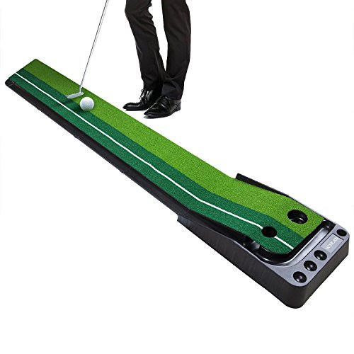 WINCAN Golf Putting Mat Green Indoor Outdoor Auto Ball Return Professional Portable Putting Trainer Set Mini Training Aids - Extra Long 10.5 Feet with 2 Holes, 3 Practice Balls Include (Putting Green Mat)
