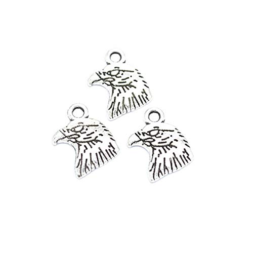 100pcs Vintage Antique Silver Eagle Head Charms Pendant Jewelry Findings for Jewelry Making Necklace Bracelet DIY 13x10mm (100pcs Eagle Head)