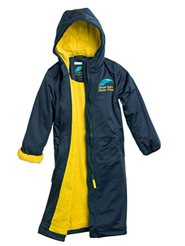 Great Aussie Swim Parkas - Swim Team Parka, Jacket & Coat for Women, Men & Kids (Gold/Navy, Youth(10))