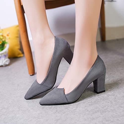 Y Grey Mujeres Alto Baja Primavera Zapatos De Gruesos Light Con Tacones Trabajo Tacón Individuales Otoño Boca Puntiagudos Yukun Costura 7xXFq7