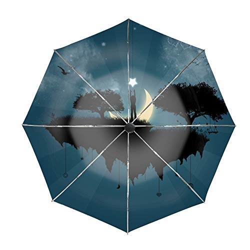 - Man Star Island Trees Silhouette Compact Travel Umbrella - Windproof, Reinforced Canopy, Ergonomic Handle, Auto Open/Close