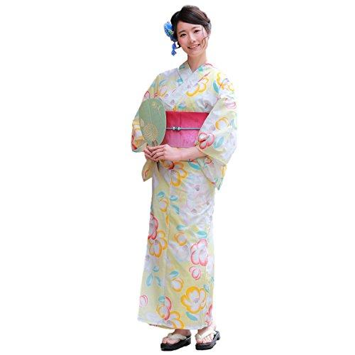 非武装化泥沼象浴衣 レディース セット 作り帯 黄色地にモダン椿 浴衣作り帯3点セット 紫