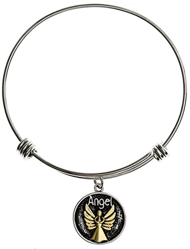 [Carly Creations Guardian Angel Silver Expandable Charm Bangle Bracelet] (Link Deluxe Adult Kit)