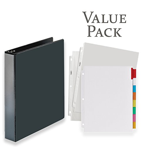 3-Ring Binder, Presentation View Binders - with 20 Top-Loading Poly Clear Sheet Protectors - and Big Tab Insertable Extra Wide Dividers, 8 Multi-Color Tabs - Value Pack (1.5 Inch, Black)