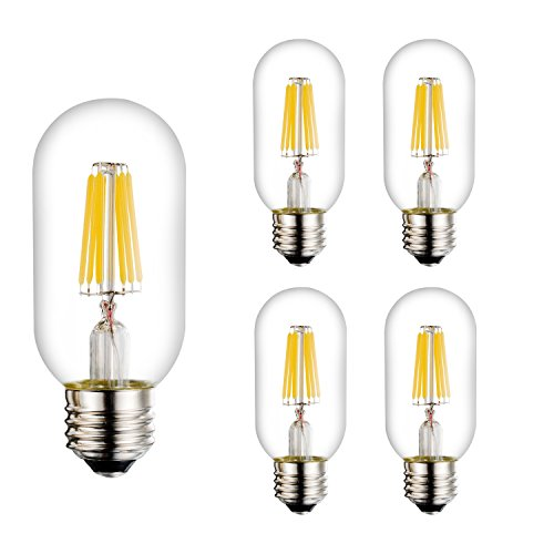 Bogao E26 6W Dimmable Edison Style Antique LED Filament Tubular Light Bulb, 4000K Neutral White 600LM, E26 Medium Base Lamp, T14(T45) Tubular Shape, 65W Incandescent Equivalent ( 4 Pack 4000K )