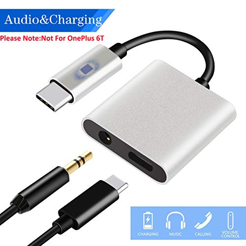 USB C to 3.5mm Audio Adapter, HiMusic 2 in 1 USB Type C Male to 3.5mm Female Stereo Earphone Converter Dongle and Charging Adapter Compatible with Google Pixel 3/3 XL/2/2 XL and More (Silver)