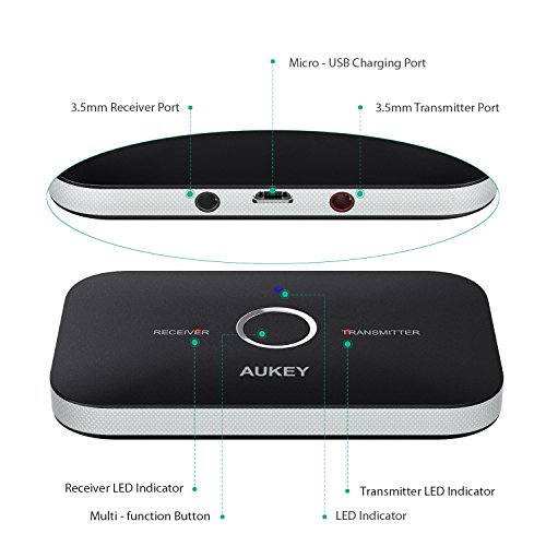 AUKEY Bluetooth Transmitter & Receiver, Wireless Stereo Audio Adapter Car Kit for Headphones, Speakers, TVs, Computers, MP3 players, Phones, and More by AUKEY (Image #1)