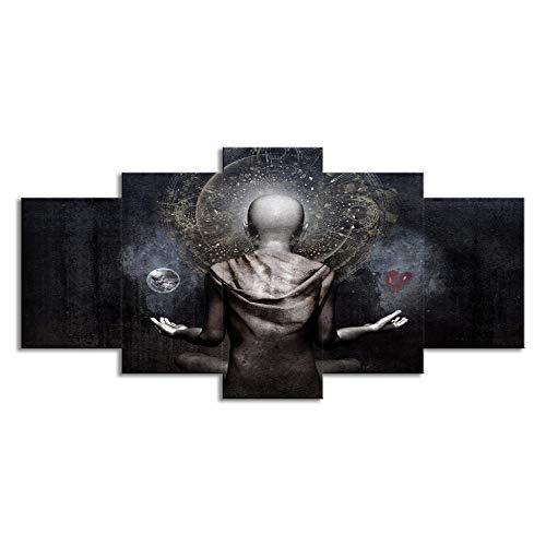 WTTLMAL Painting on Canvas 5 Panel Grey Buddha Statue Canvas Print Wall Art Modern Decorative Oil Painting-30x45 30x60 30x75cm-framed (Buddha Grey Canvas)