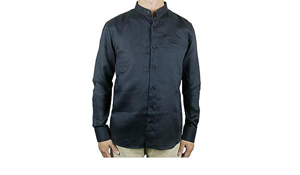 Camisa de cuello mao con botones de lino, color negro: Amazon ...