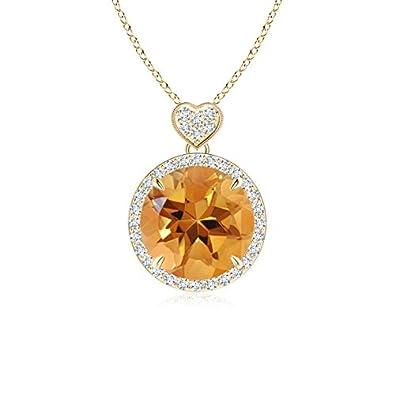Angara Citrine Halo Pendant with Diamond Heart Motif GyyNmnVgw