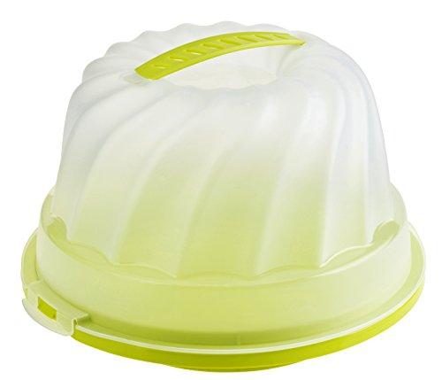 rotho 1721105070 Gugelhupf-Kuchenbehälter Fresh aus Kunststoff mit sicherem Verschluss und bequemem Tragegriff, circa 30,5 x 28,5 x 17,5 cm, grün / transparent