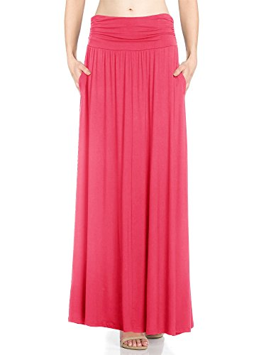 - Womens 1 Pack High Waist Shirring Maxi Skirt Side Pockets (Small, Fusion Coral)