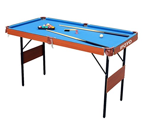 IFOYO Folding Pool Table, 55 Inch Folding Billiard Table Steady Modern Space Saving Pool Billiard Table, Blue