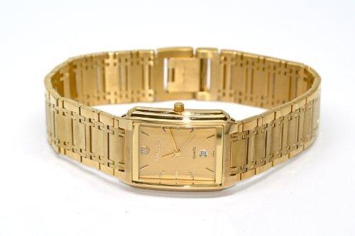 Slim Swiss Watch - RETRO VINTAGE SUPER SLIM NIVADA SWISS THIN GOLD PLATED STAINLESS STEEL WATCH W CALENDAR