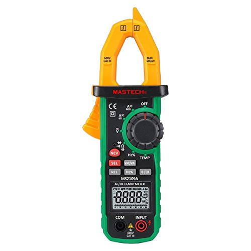 Mastech MS2109A True RMS Digital AC DC Clamp Meter 600A Temp NCV RC Test (Automotive Clamp Meter)