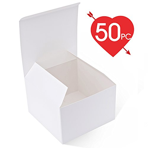 MESHA Recycled Gift Boxes 6x6x4 Inch White Gloss Cardboard Boxes 50PCS Kraft Favor Boxes for Party, Wedding, (Free Christmas Ornament Crafts)