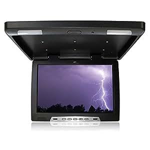 Monitor de Techo 39.63cm (15.6 Pulgadas), 16:9 1280*RGB*800 Incluye Transmisor IR, Pal & NTSC, 2x Video & 1x Audio - IN, con Iluminación Interior, Negro