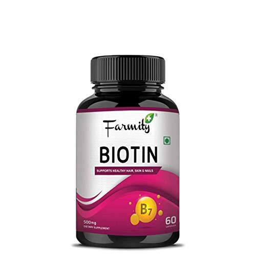 Farmity Biotin Nutrition Supplement 60 Capsules Support Hair Growth Skin & Nails 10000mcg