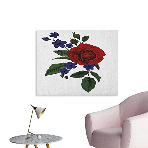 Anzhutwelve Rose Poster Wall Decor Valentines Rosebud with Little Blossoms Love Passion Theme Artful Custom Poster Ruby Violet Blue Hunter Green W48 xL32