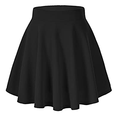 Coreal Women Basic Stretchy Flared Swing Casual Solid Mini Skater Skirt
