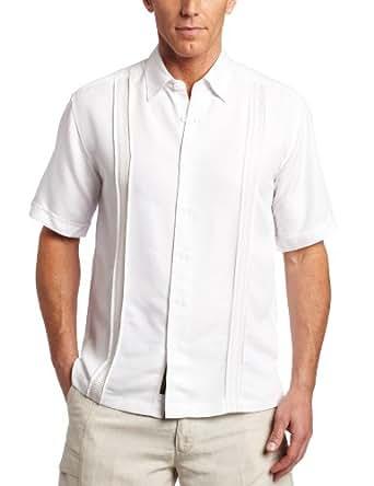 Cubavera Men's Short Sleeve Front Tuck Stitch Shirt, Bright White, Large