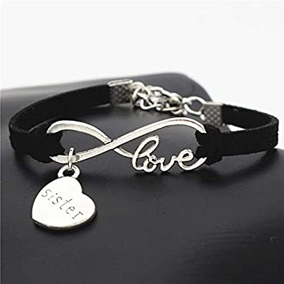 ZUOZUO Leather Wristband Handmade Fashion Cute Silver Mind Charm Family Love Unlimited Leather Bracelet Estimated Price £16.99 -