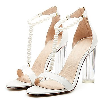 pwne Sandalias De Mujer Zapatos Club Fabric Summer Party &Amp; Traje De Noche Casual Zipper Chunky Talón Perla Negra 5 Almendras En &Amp; Más US7.5 / EU38 / UK5.5 / CN38