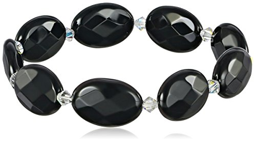 """Black Onyx Flat Faceted Oval and Crystals by Swarovski Crystal Aurora Borealis Stretch Bracelet, 7.5"""""""
