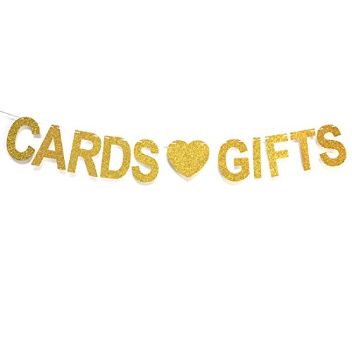 GZFY Cards and Gifts Banner Gold Glitter Letters Hang Bunting | Wedding Decorations | Bachelorette Party | Bridal Shower | Birthday Party Supplies Photo Prop