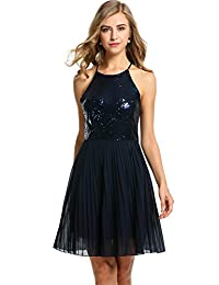 ANGVNS Women Sleeveless Halter Sequins Chiffon Patchwork Party Slim A-line Dress