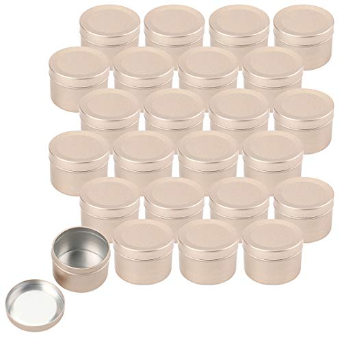 Foraineam 24 Pack 2 oz Round Tin Containers with Slip-on Lids - Aluminum Candle Tin Cans - Frosted Gold Empty Tins Metal Storage Travel Tin Jars (Candle Tins Empty)