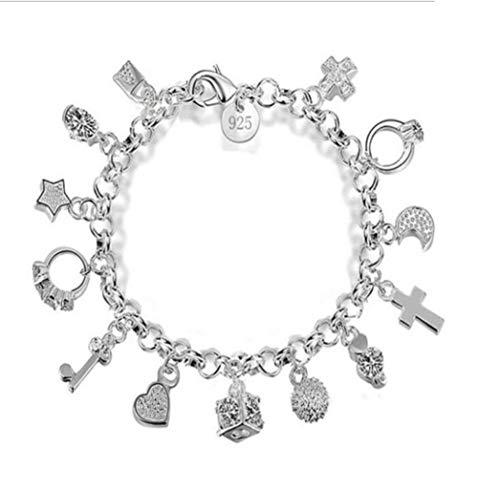 Smiling sunflower Silver plated Multiple Elements Charm Bead Chain Bracelet with Lock Key Diamond Ring Cross Cross Moon Pendant Bracelet