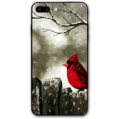 iPhone 7 Plus Case/iPhone 8 Plus Case Cardinal Birds Painting Soft Rubber Cover Lightweight Slim Printed Protective Case