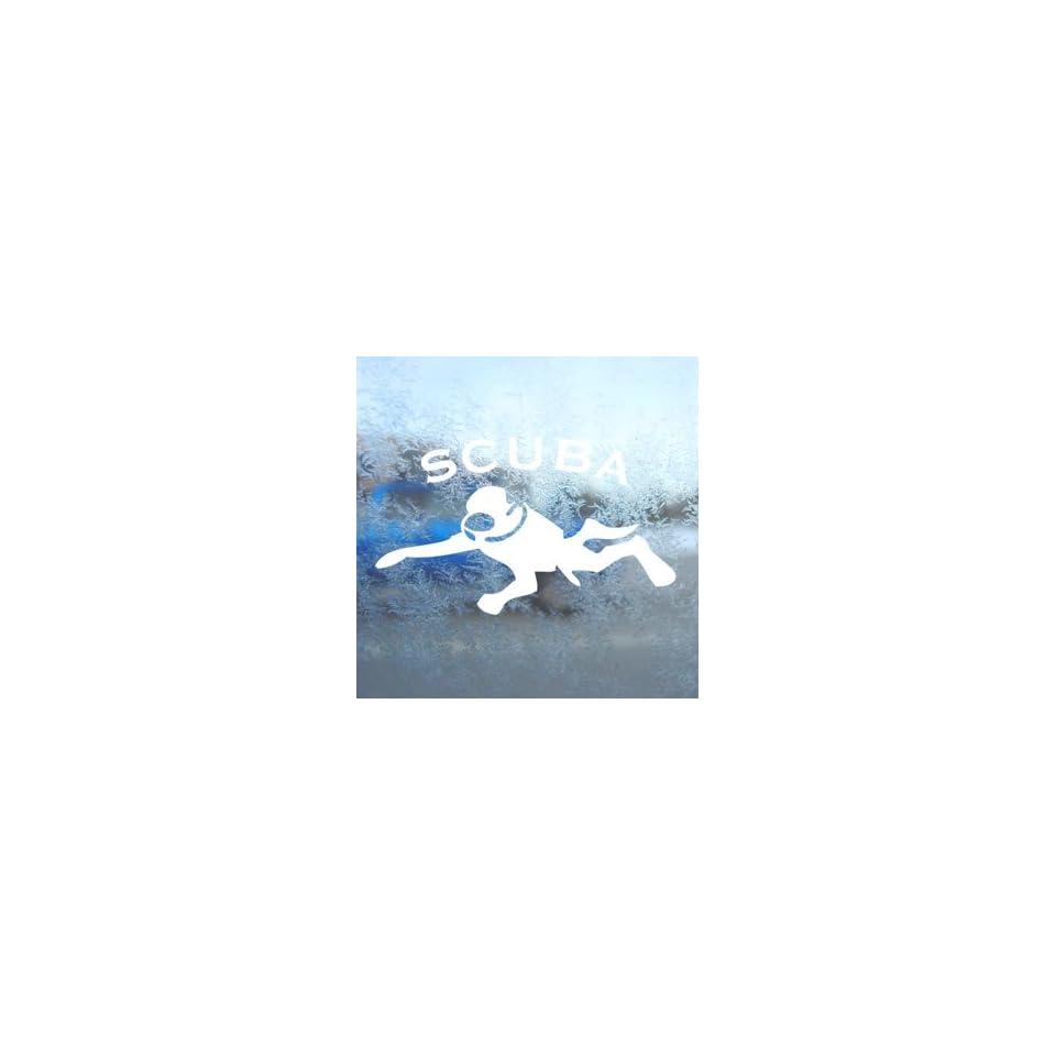 Scuba Diver White Decal Car Laptop Window Vinyl White Sticker