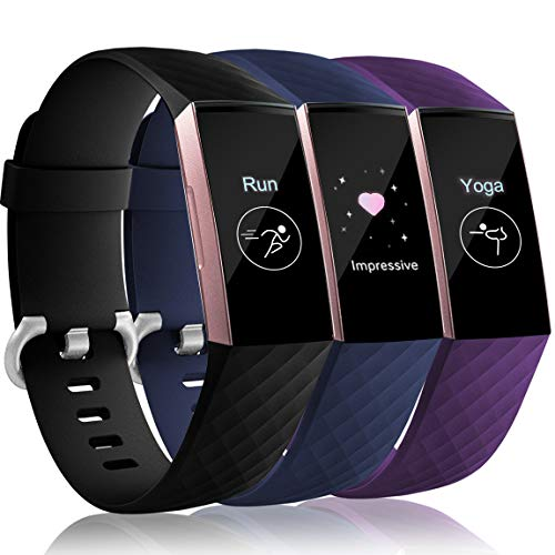 Maledan Compatible with Fitbit Charge 3 Band for Men Women, Black/Navy Blue/Plum, Small