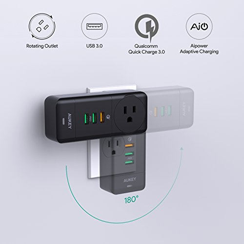 AUKEY USB Wall Charger with Rotate Plug, One Quick Charge 3.0 Port, and Dual AiPower Ports for Home Appliances, Phones, Tablets, and More